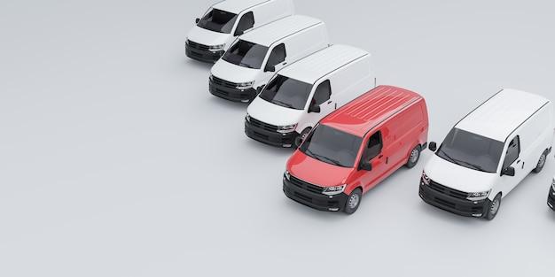 Ein roter van, der sich von einer flotte weißer transporter abhebt. 3d-illutration Premium Fotos