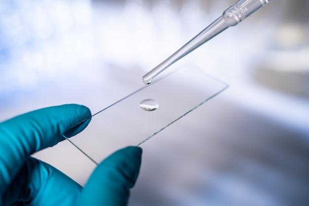 Ein wissenschaftler arbeitet in einem modernen labor. tragen sie einen tropfen flüssigkeit auf einen objektträger auf Premium Fotos