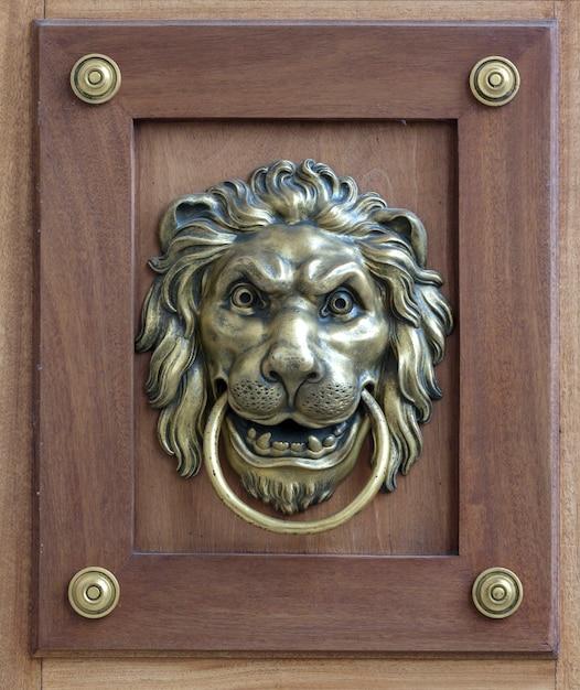 Eine braune tür mit wunderschönem geschnitztem löwenkopfgriff im retro-stil aus bronze Premium Fotos