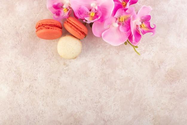 Eine bunte französische macarons der draufsicht mit blumen auf der rosa schreibtischkuchen-kekszuckerfarbe Kostenlose Fotos