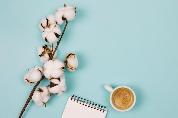 Eine draufsicht der baumwollblume; spiralblock und kaffeetasse auf blauem hintergrund Kostenlose Fotos