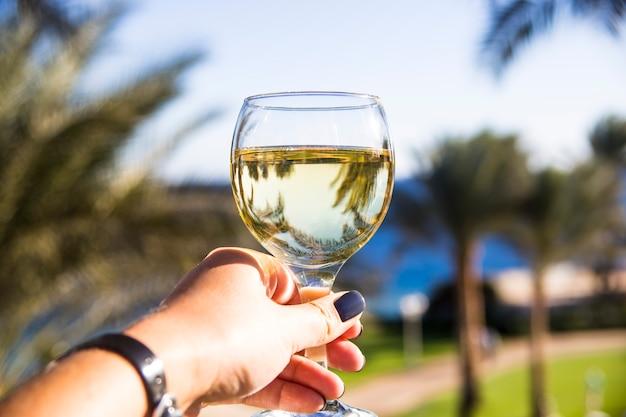 Eine frau hält ein glas wein in der hand und steht zwischen palmen am meer Premium Fotos