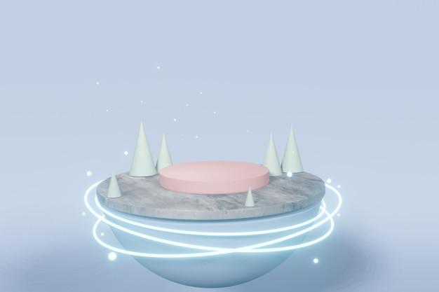 Eine futuristische technologie-plattform mit leuchtender runder neonbeleuchtung. 3d-rendering Premium Fotos