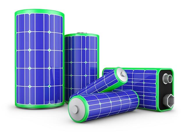 Eine gruppe batterien mit sonnenkollektoren Premium Fotos