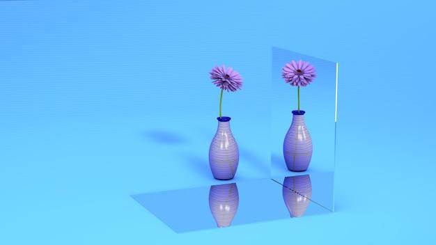Eine lila blume in einem glas spiegelt sich auf dem spiegel Premium Fotos