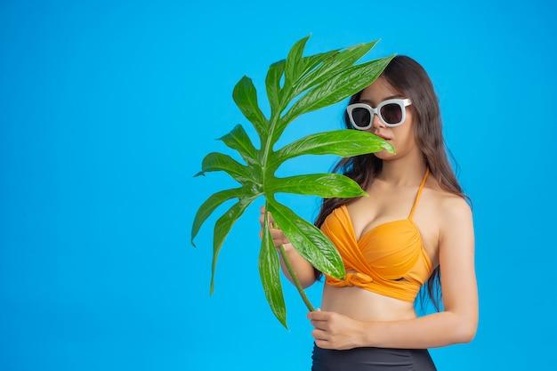 Eine schöne frau in einem badeanzug, der ein grünes blatt hält, wirft auf blau auf Kostenlose Fotos