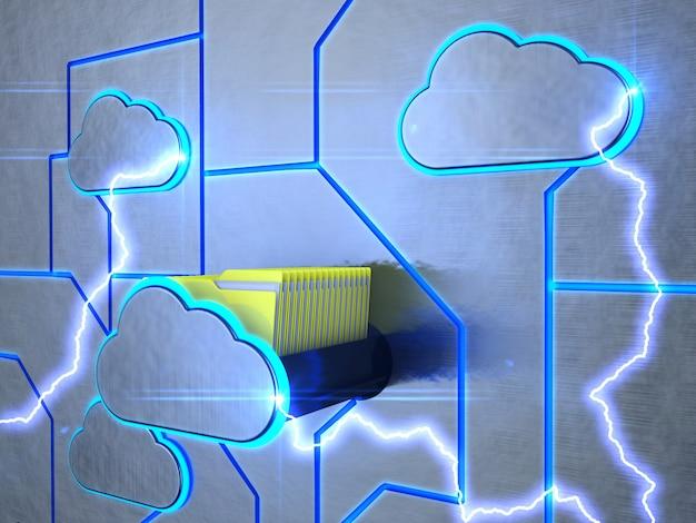 Eine schublade in form einer wolke mit ordnern. Premium Fotos