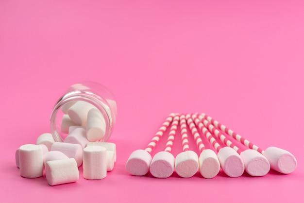 Eine vorderansicht kleine weiße marshmallows mit stöcken und innendose auf rosa, zuckersüßen süßwaren Kostenlose Fotos