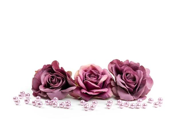 Eine vorderansicht verwelkte rosen purpurfarben auf weißem schreibtisch, blumenpflanzenfarbbild Kostenlose Fotos