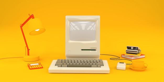 Einfache komposition mit altem computer und büchern Premium Fotos
