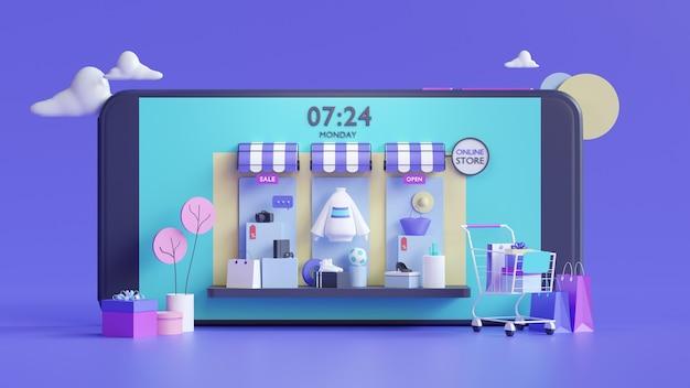 Einkaufen online-shop auf mobile-application-konzept in 3d-rendering Premium Fotos