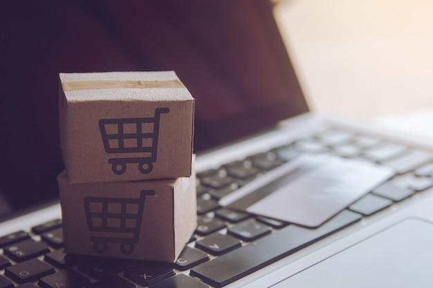 Einkaufsservice im online-web. bei zahlung mit kreditkarte und hauszustellung Premium Fotos