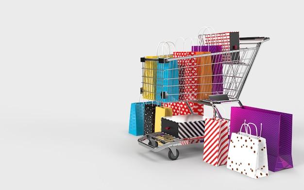 Einkaufstaschen, einkaufswagen, ein digitaler online-shop-internet-markt zum auschecken durch den verbraucher. Premium Fotos