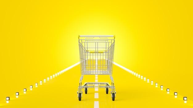 Einkaufswagen auf der gelben straße Premium Fotos