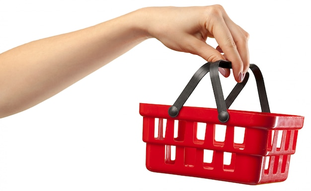 Einkaufswagen in der hand Premium Fotos