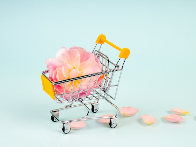 Einkaufswagen mit blumen Premium Fotos