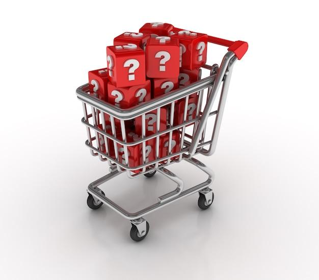Einkaufswagen mit fragezeichenblöcken Premium Fotos