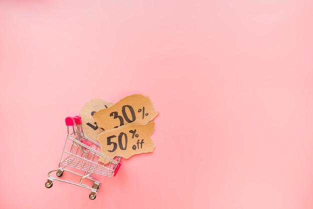 Einkaufswagen und bissen von papieren mit verkaufstitel Kostenlose Fotos