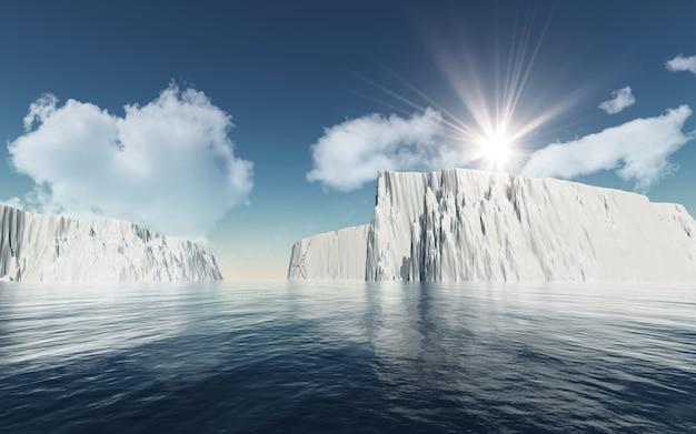 Eisberge 3d gegen blauen himmel mit flaumigen weißen wolken Premium Fotos