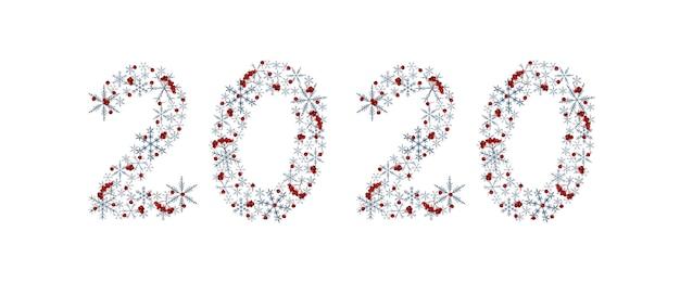Elegante künstlerische aufschrift 2020 des neuen jahres mit grauen schneeflocken und ebereschenbeeren. aquarell-elemente Premium Fotos