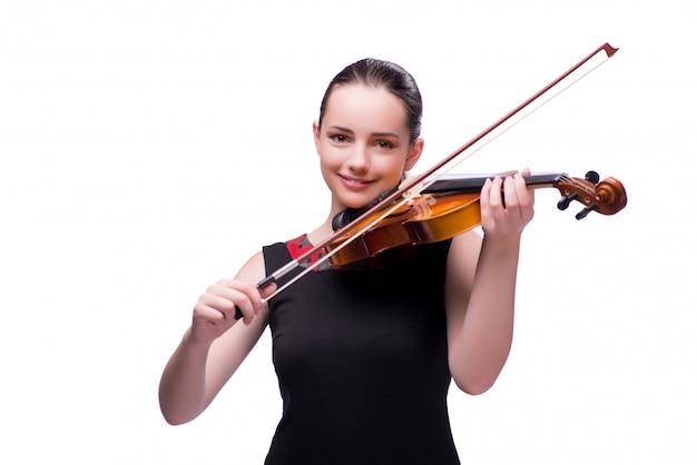 Eleganter junger violinenspieler getrennt auf weiß Premium Fotos