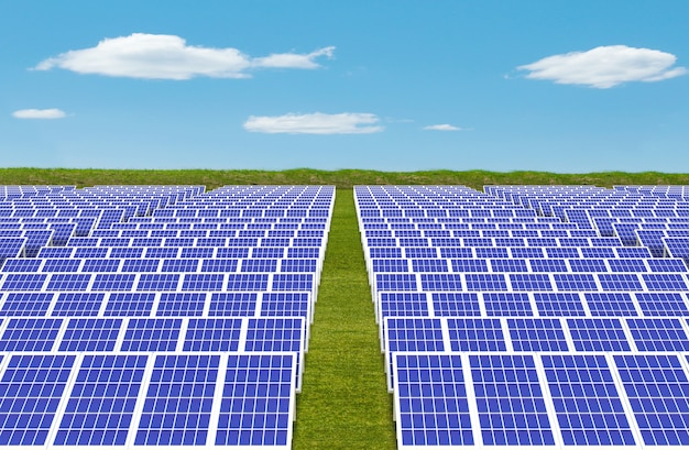 Elektrische energie-generator-system, solarzellen-paneele feldfarm Premium Fotos