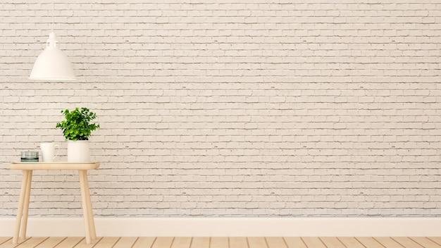 Entspannen sie sich bereich im haus oder in der wohnung auf weißer backsteinmauer verzieren Premium Fotos