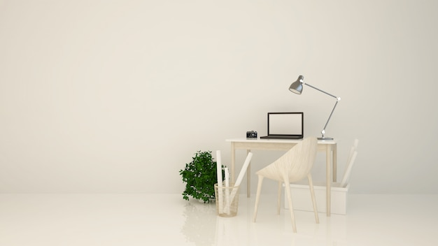 Entspannen sie sich raum weißen hintergrund interior 3d-rendering Premium Fotos