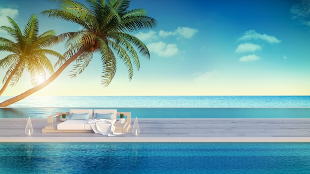 Entspannender sommer, strandlounge, sonnendeck und privater swimmingpool Premium Fotos