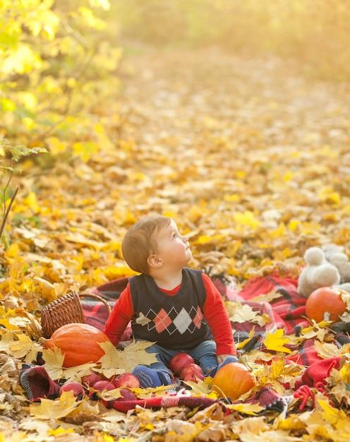 Entzückendes baby auf einer decke, die weg schaut Kostenlose Fotos