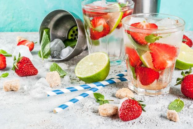 Erdbeer-mojito-cocktail Premium Fotos