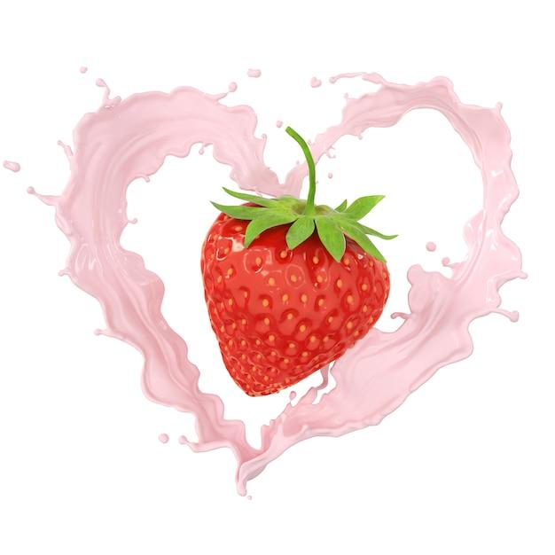 Erdbeer- und milch- oder fruchtjoghurt-spritzencreme, umfassen beschneidungspfad, wiedergabe 3d. Premium Fotos