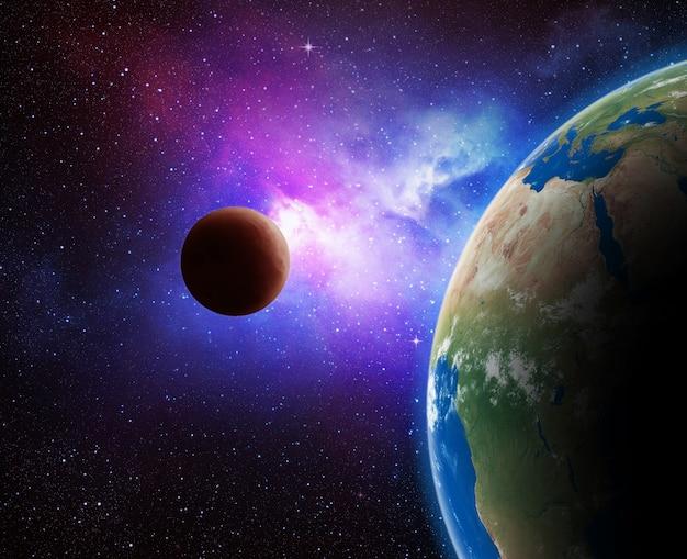 Erde und galaxie. Premium Fotos