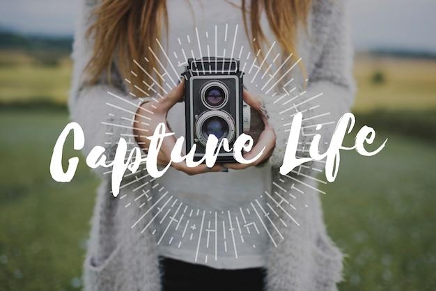 Erfassen sie das leben mit dem overlay für die objektivfotografie Kostenlose Fotos