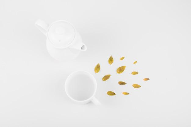 Erhöhte ansicht der blätter; teetasse und teekanne auf weißem hintergrund Kostenlose Fotos