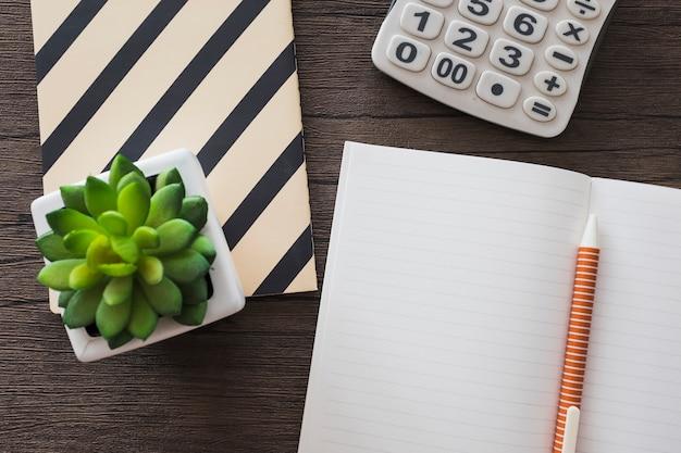 Erhöhte ansicht des stiftes; notizbuch; taschenrechner und topfpflanze auf hölzernem hintergrund Kostenlose Fotos