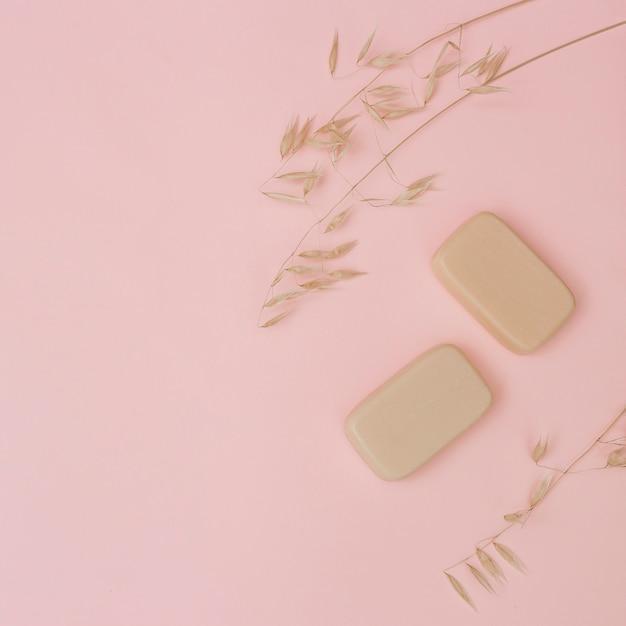 Erhöhte ansicht von seifen und von hülsen auf rosa oberfläche Kostenlose Fotos