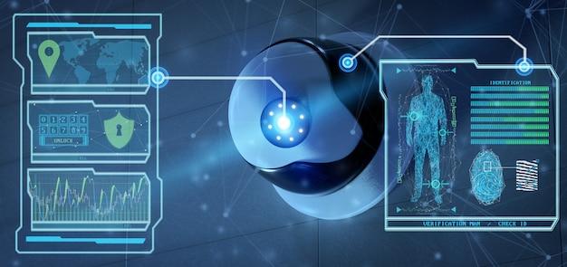 Erkennungs- und erkennungssoftware auf einem sicherheitskamerasystem - Premium Fotos