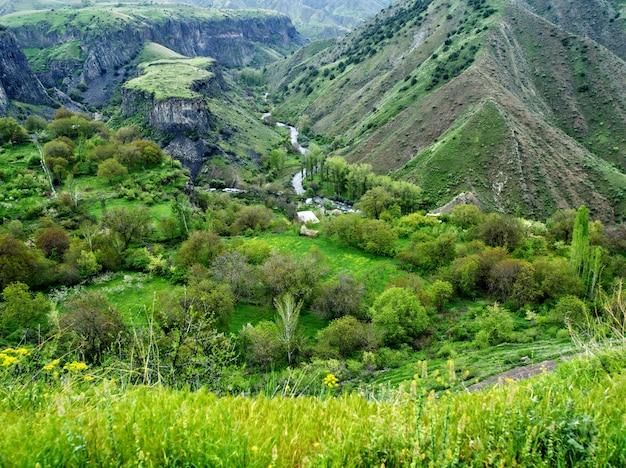 Erstaunliche berglandschaft, schlucht in bergen, garni, armenien Premium Fotos