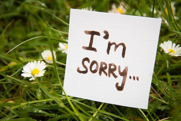 Es tut uns leid. aufkleber mit aufschrift tut mir leid. minichalckboard. Premium Fotos