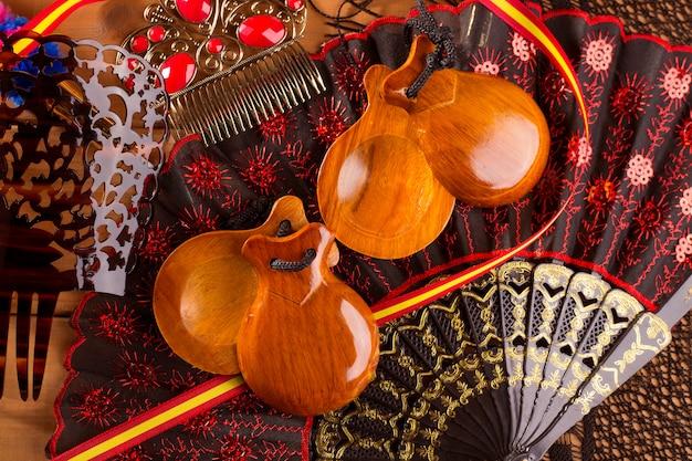 Espana typisch aus spanien mit kastagnetten flamenco-elementen Premium Fotos