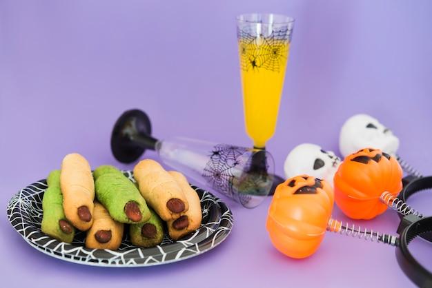 Essen und trinken für die halloween-party Premium Fotos