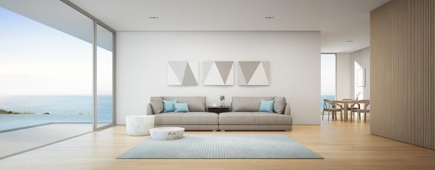 Esszimmer und wohnzimmer des luxus-sommerstrandhauses mit meerblick und swimmingpool in der nähe der holzterrasse. Premium Fotos