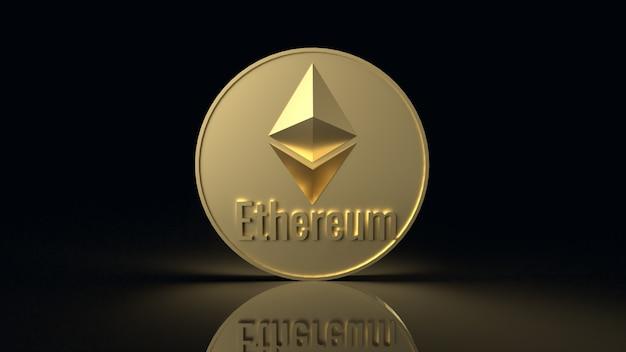 Ethereum münzsymbol kryptowährung 3d-rendering Premium Fotos
