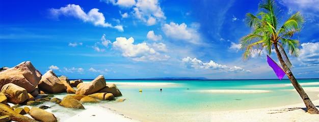 Exotische tropische strandlandschaft. weißer sand und türkisfarbenes meer Premium Fotos