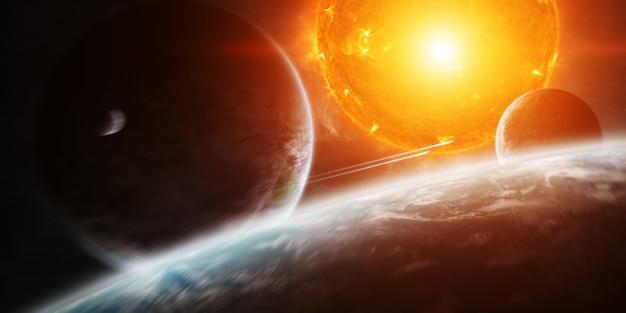 Explodierende sonne im weltraum nahe am planeten Premium Fotos