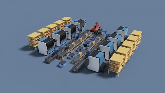 Fabrikautomation mit fahrerloses transportfahrzeug und roboterarm. Premium Fotos