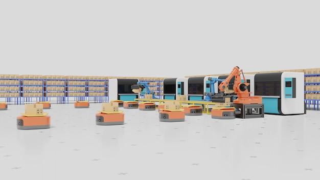 Fabrikautomation mit ftf, 3d-druckern und roboterarm. Premium Fotos
