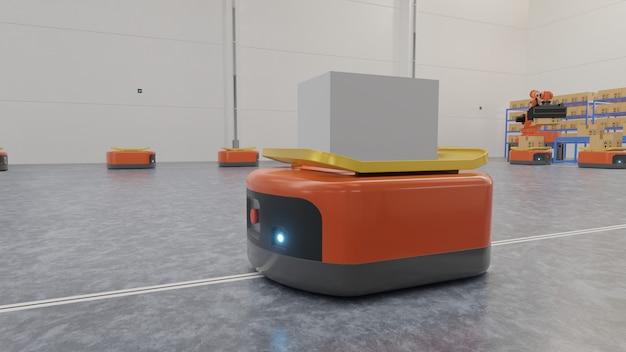 Fabrikautomation mit ftf und roboterarm im transport, um den transport sicherer zu gestalten. Premium Fotos