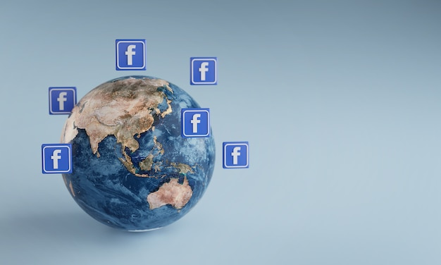 Facebook logo icon um die erde. beliebtes app-konzept. Premium Fotos